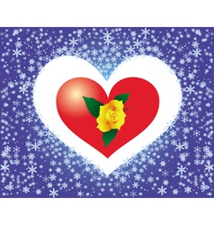 rose in snowflake heart vector image vector image
