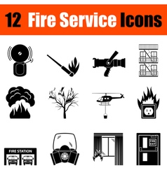Set of fire service icons vector
