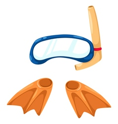 Snorkeling equipment and flippers vector