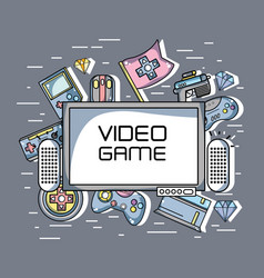 television with videogames technology elements vector image