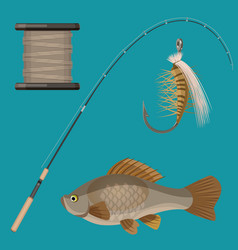 Two hooks bobbin landing net spinning vector