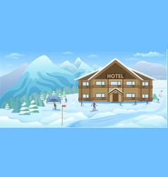winter resort background vector image vector image