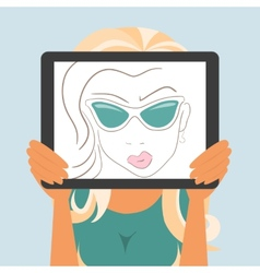 Woman holds tablet pc displaying fashion drawing vector image
