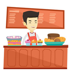 Worker standing behind the counter at the bakery vector