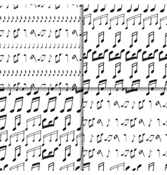 Seamless patterns with music notes vector
