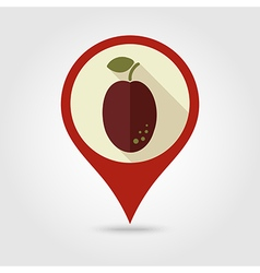 Plum flat pin map icon fruit vector