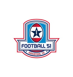 Houston american football 51 stars crest retro vector