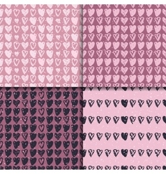 Doodle seamless pattern set with hearts vector image