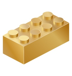 Golden isolated constructor brick isometric vector
