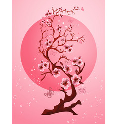Cherry blossom background beautiful spring nature vector