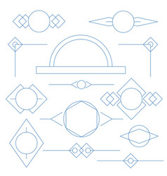 Set of blue linear graphic stylized frames and vector