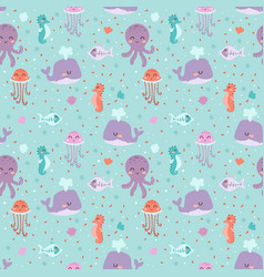 Sea animals seamless pattern fish corals starfish vector