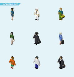 Isometric person set of male policewoman seaman vector