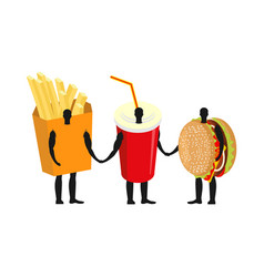 Fast food friends french fries and hamburger vector