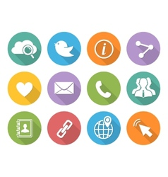 Flat Social network icons set with long shadow vector image