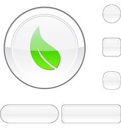 Ecology white button vector