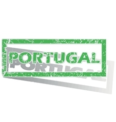 Green outlined portugal stamp vector