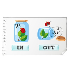 Opposite adjectives in and out vector image