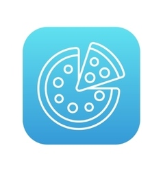 Whole pizza with slice line icon vector