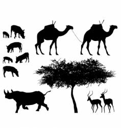 exotic trees and animals vector image