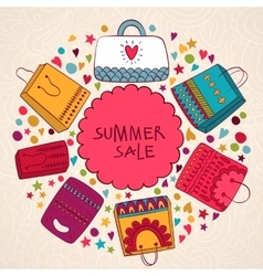 Sale summer background with bags vector