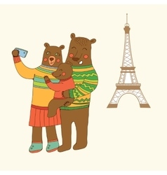 Bears family taking selfie photo on smart phone vector