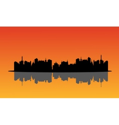 Silhouette of city and reflection vector