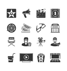 Movie black icons set vector