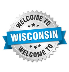 Wisconsin 3d silver badge with blue ribbon vector