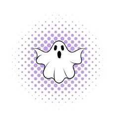 Halloween ghost icon comics style vector