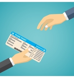 Businessman receiving boarding pass at airport vector