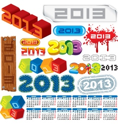 2013 logo collection and calendar vector