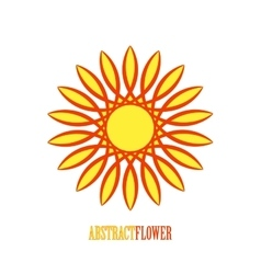 Abstract Yellow Flower Mandala Icon over vector image