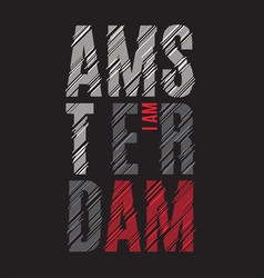 amsterdam tee print t-shirt design graphics stamp vector image