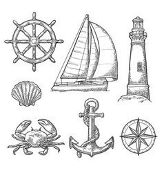Anchor wheel sailing ship compass rose shell vector