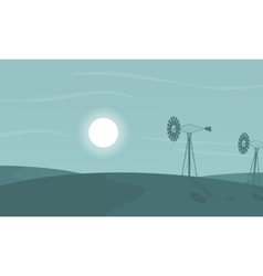 At night windmill scenery of silhouettes vector image vector image
