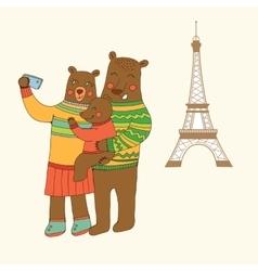 Bears family taking selfie photo on smart phone vector