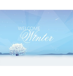 Beautiful winter landscape with white tree in the vector