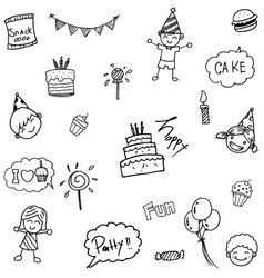 Childs birthday party set doodle vector image vector image