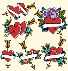 classic vintage heart tattoo vector image vector image