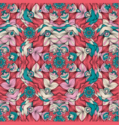 Color pattern with ornament in mandala style vector