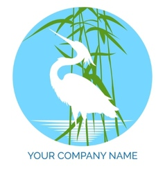 Conservation company logo design with heron vector