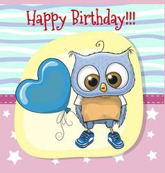 cute cartoon owl with balloon vector image vector image