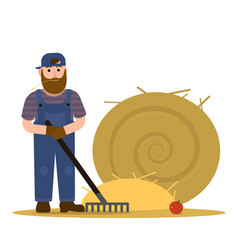 farmer redneck with beard in overalls and baseball vector image vector image
