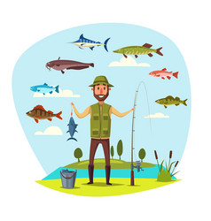 Fisher man with fish catch fishing vector