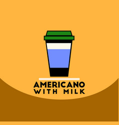 Flat icon design collection americano with milk vector