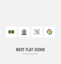 flat icon finance set of bank greenback vector image