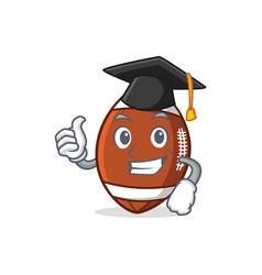 Graduation american football character cartoon vector