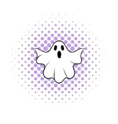 Halloween ghost icon comics style vector