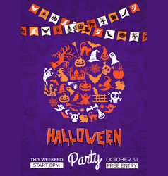 halloween party invitation poster template vector image vector image